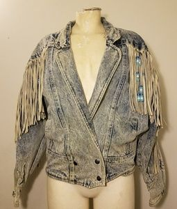 Vintage Sergio Valente Jean Jacket Beaded Leather